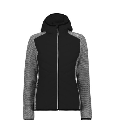 CMP WOMAN JACKET FIX HOOD HYBRID nero