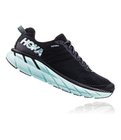 HOKA CLIFTON 6 WOMEN'S black/acqua sky