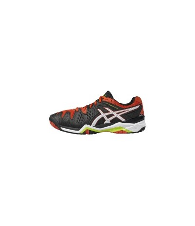 ASICS GEL RESOLUTION 6 blk/wht/orange SUOLA MULTISUPERFICIE - UOMO