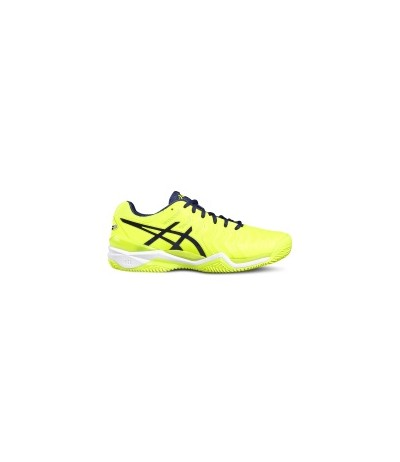 ASICS GEL RESOLUTION 7 CLAY safety yellow/indigo blue/wht SUOLA CLAY - UOMO
