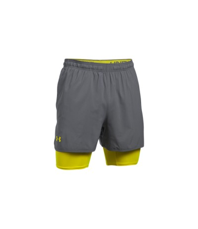 UNDER ARMOUR UA QUALIFER 2 IN 1 SHORT gph/smy UOMO
