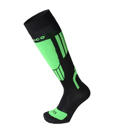 MICO CALZA SCI KID NATURAL MERINOS LIGHT 2608 col.155 nero-verde fluo