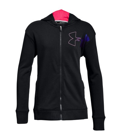 UNDER ARMOUR THREADBORNE TERRY FULL ZIP JR blk/ptp