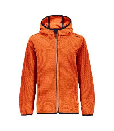 CMP BOY JKT FIX HOOD PILE 98BN orange